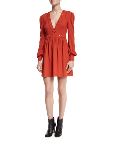 Rachel Zoe Neda Studded Long-Sleeve Dress