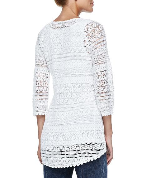 Delaney Crochet 3/4-Sleeve Top, White