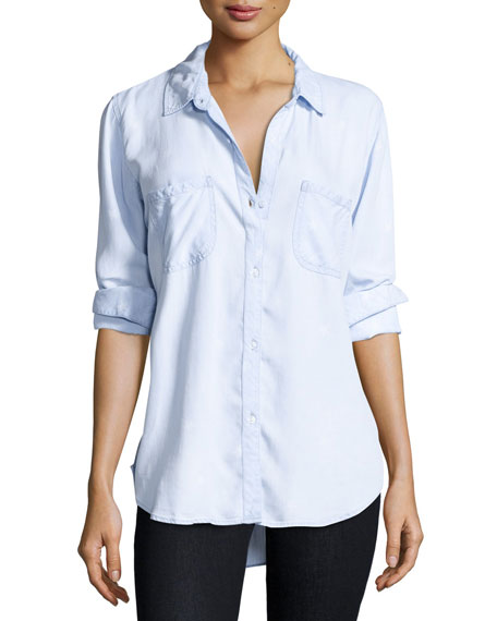 Carter Button-Front Chambray Shirt, Light Vintage Star