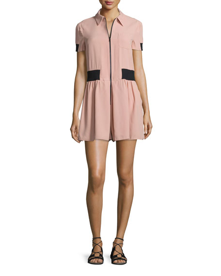 RED Valentino Short-Sleeve Zip-Front Romper, Nudo