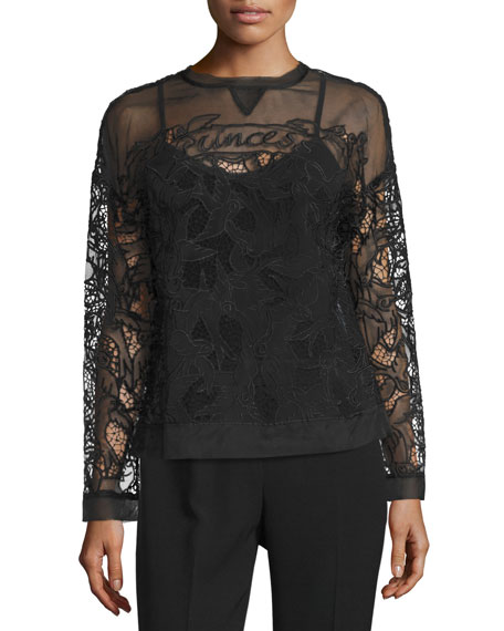 RED Valentino Long-Sleeve Lace Top, Black
