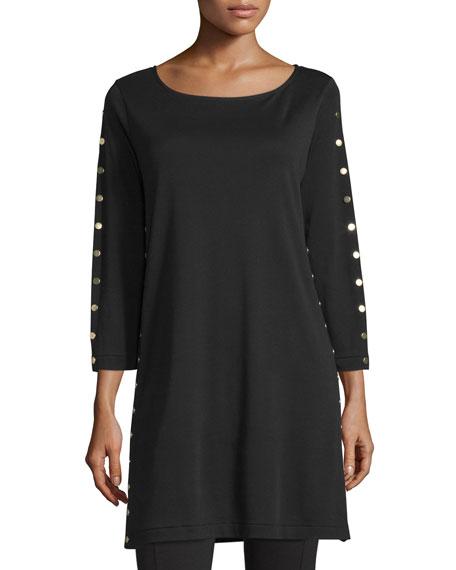 Joan Vass 3/4-Sleeve Studded Tunic, Black, Petite