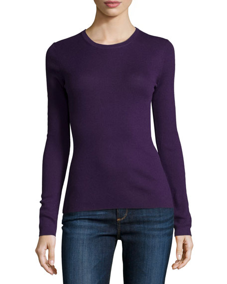 Michael Kors Collection Long-Sleeve Jewel-Neck Cashmere Sweater, Blackberry