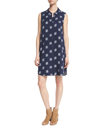 Conversational Larkspur Sleeveless Shirtdress, Navy