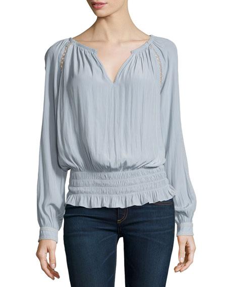 Alexa Long-Sleeve Smocked Peasant Blouse, Silver