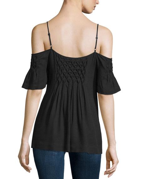 Stella Cold-Shoulder Top, Black
