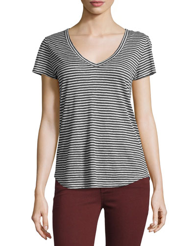 Lynnea Striped Linen V-Neck Tee, Phantom/White