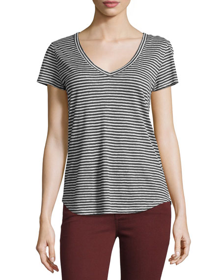 PAIGE Lynnea Striped Linen V-Neck Tee, Phantom/White