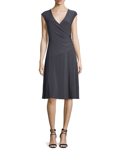 Cap-Sleeve Faux-Wrap Dress, Plus Size
