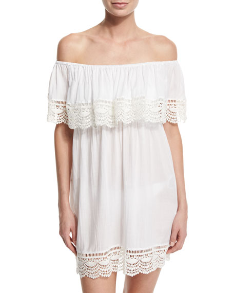 PilyQ Waterlily Lace-Trim Coverup Dress