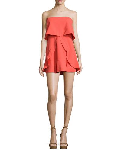 Charlot Strapless Popover Dress, Poinsettia