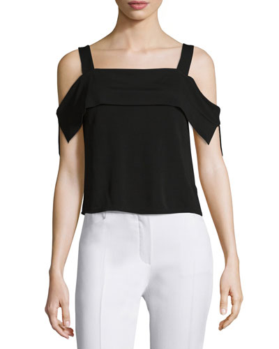 Thabo Cold-Shoulder Top, Black