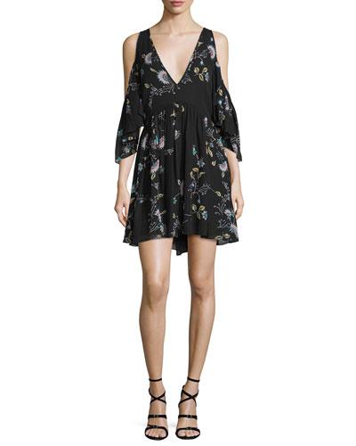 Robbie Cold-Shoulder Floral-Print Dress