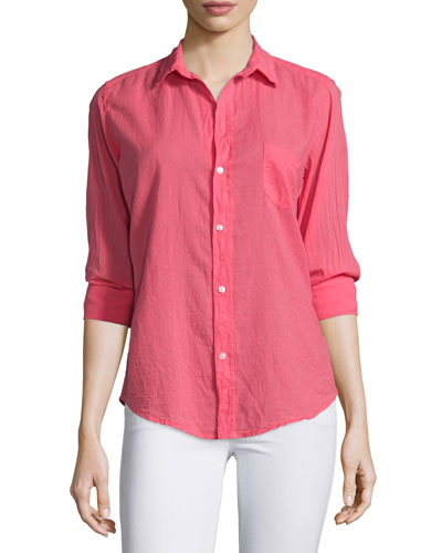 Barry Long-Sleeve Voile Shirt, Strawberry