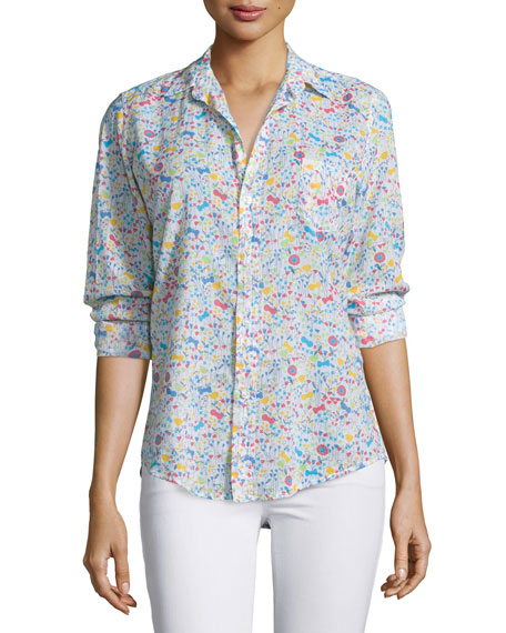 Barry Long-Sleeve Voile Shirt, Floral