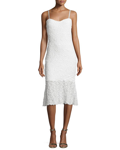Havana Sweetheart-Neck Lace Dress, Summer White