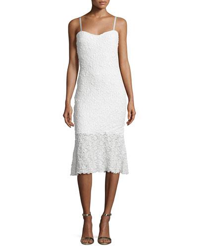 Havana Sweetheart-Neck Lace Dress, Summer White