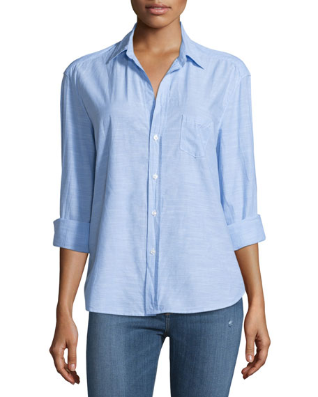 Eileen Long-Sleeve Chambray Blouse, Blue