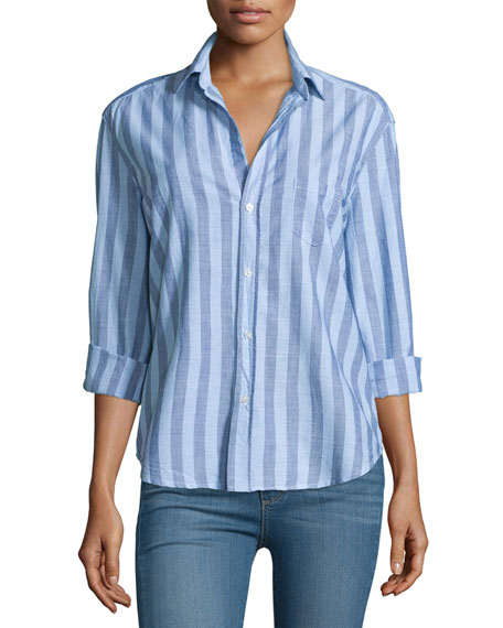 Frank & EileenEileen Long-Sleeve Striped Chambray Blouse, Blue