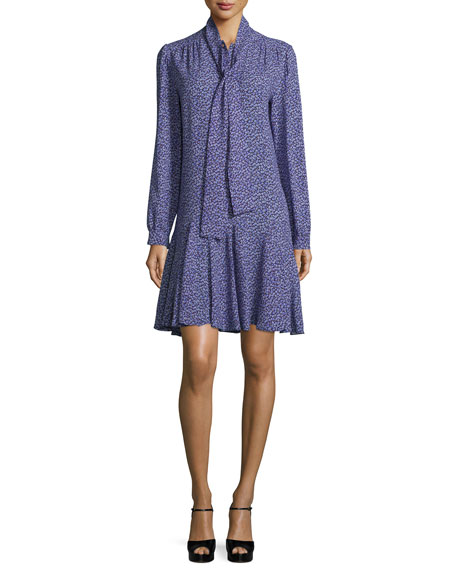Michael Kors Collection Long-Sleeve Tie-Neck Dress, Blackberry