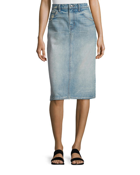 Faded Denim Pencil Skirt, Light Blue