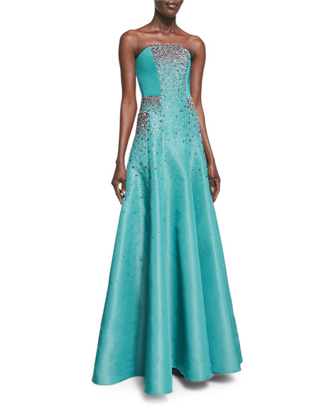 Pamella Roland Strapless Crystal-Embroidered Taffeta Gown