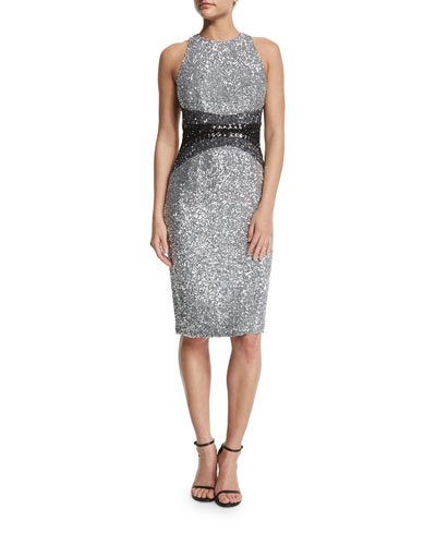 Sleeveless Embellished Cocktail Dress, Silver/Pewter/Black