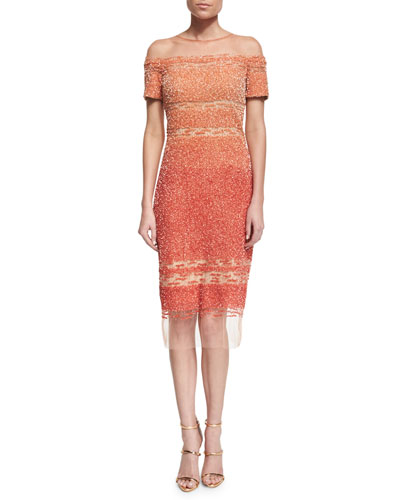 Short-Sleeve Signature Ombre Sequin Dress, Light/Dark Poppy