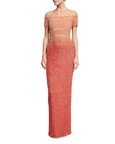 Signature Degrade-Sequined Column Gown, Pink
