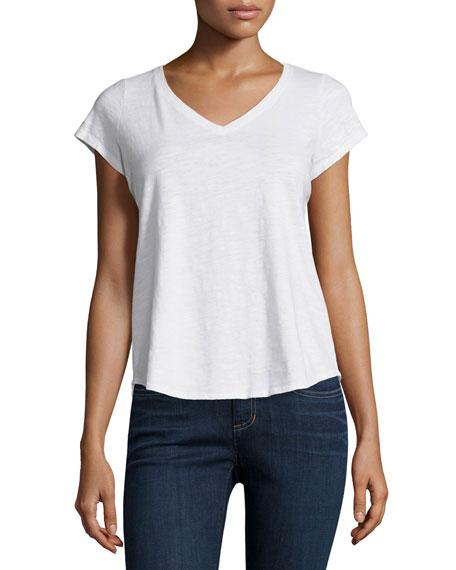 Eileen Fisher Short-Sleeve Organic Cotton V-Neck Tee, White