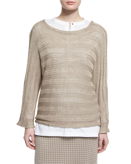 Misook Collection Round-Neck Knit Sweater, Almond