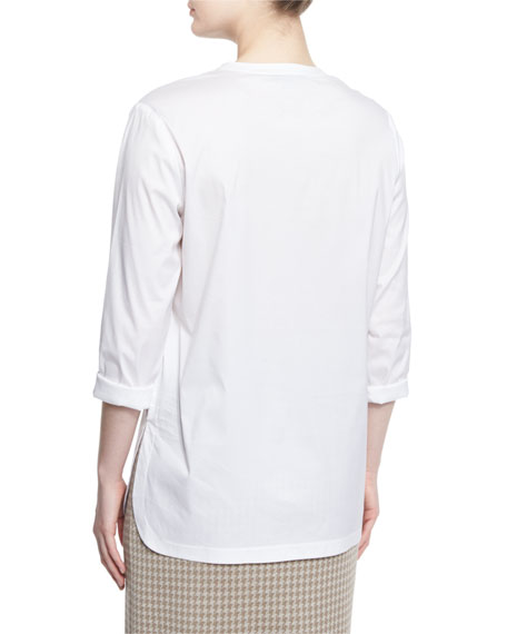 Button-Placket Long-Sleeve Blouse, White