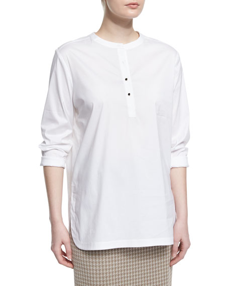 Button-Placket Long-Sleeve Blouse, White, Plus Size