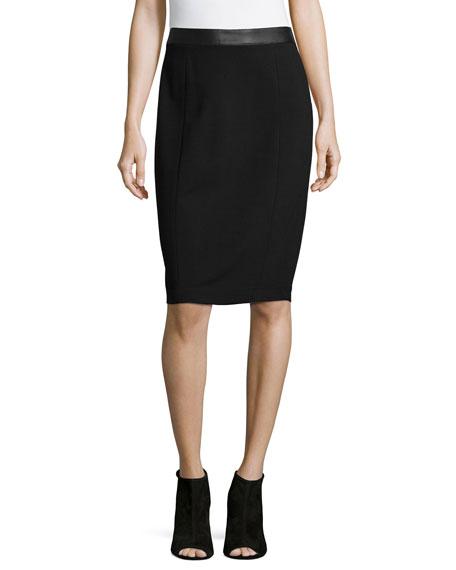 Carmen Carmen Marc Valvo Ponte Pencil Skirt, Black