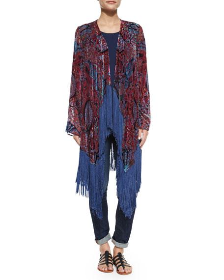Neiman Marcus Burnout Fringe-Trim Kimono, Red/Multi
