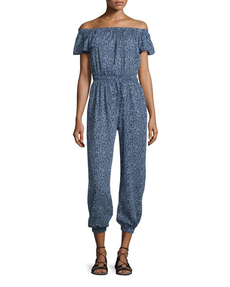 Rebecca Taylor Floral-Print Gauze Off-The-Shoulder Jumpsuit