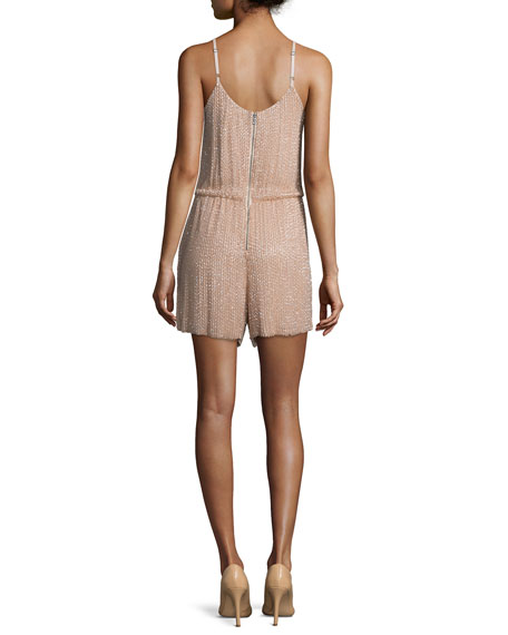 Mika Sleeveless Beaded Silk Romper, Tan