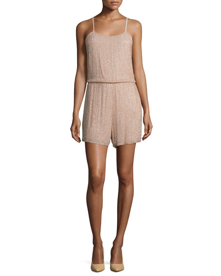 Alice + Olivia Mika Sleeveless Beaded Silk Romper,