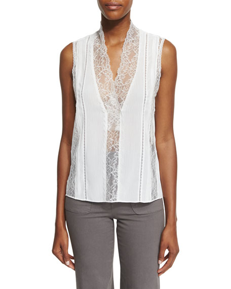 Alice + Olivia Peta Sleeveless Lace-Trim Top, Cream