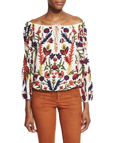 Naya 3/4-Sleeve Embroidered Off-the-Shoulder Top, Multicolor