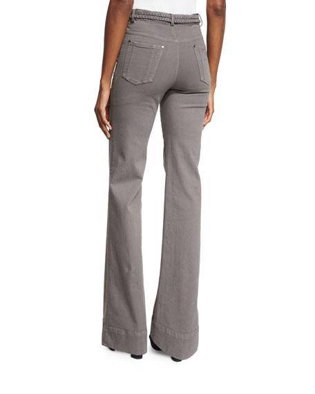Juno Braided-Waist Wide-Leg Pants, Charcoal