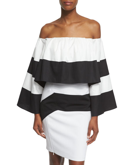 Kendall + Kylie Off-The-Shoulder Striped Crop Top, Black/White