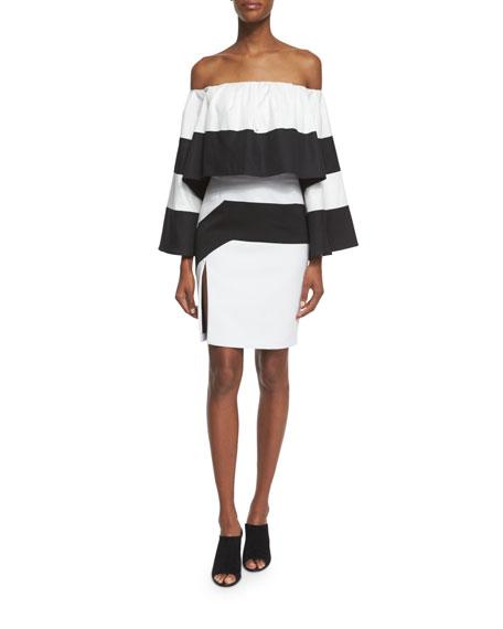 High-Waist Colorblock Pencil Skirt, Black/White