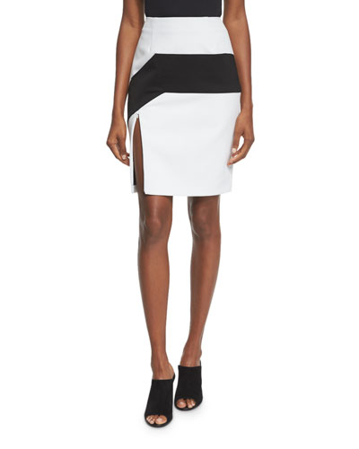 High-Waist Colorblock Pencil Skirt, Black/White