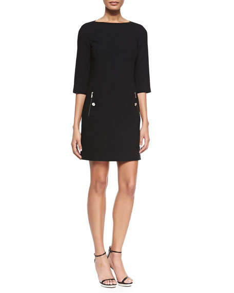 Michael Kors Collection 3/4-Sleeve Boat-Neck Shift Dress, Black