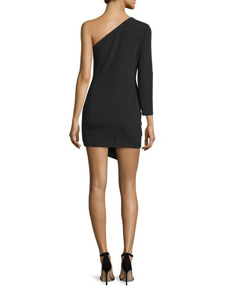 Alessandra One-Shoulder Cocktail Dress, Black