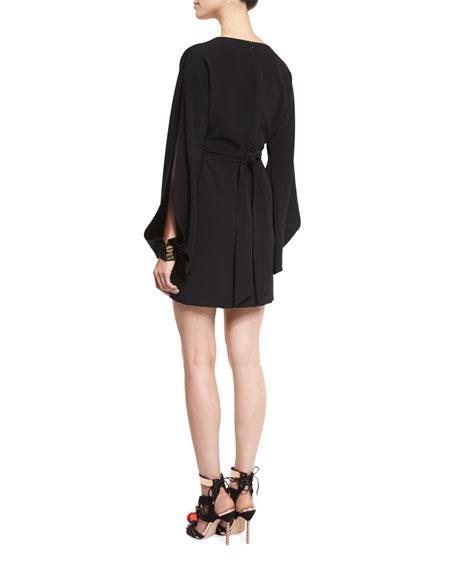 Bryony Suede-Inset Open-Sleeve Dress, Black