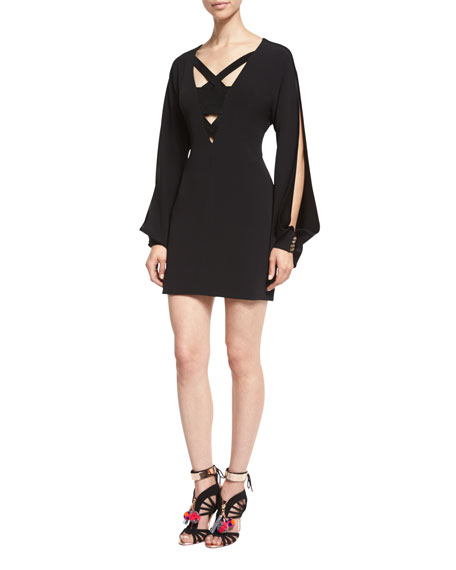 Haney Bryony Suede-Inset Open-Sleeve Dress, Black