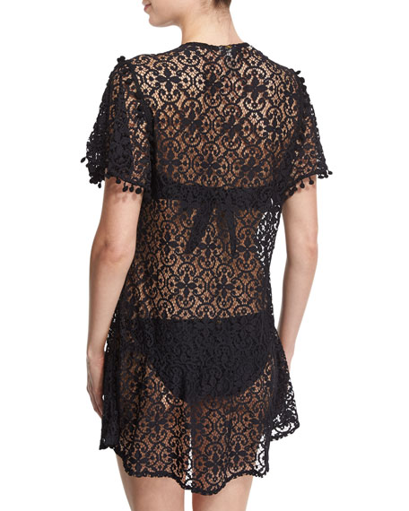 Pompom-Trim Embroidered Lace Coverup Dress