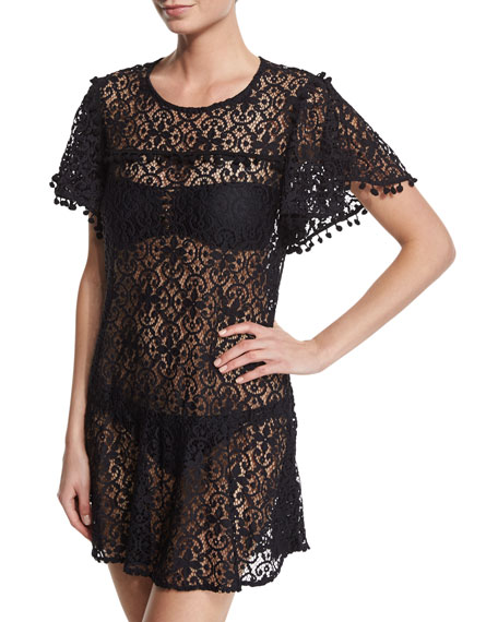PilyQ Pompom-Trim Embroidered Lace Coverup Dress